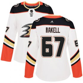Wholesale Cheap Adidas Ducks #67 Rickard Rakell White Road Authentic Women\'s Stitched NHL Jersey