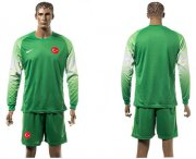 Wholesale Cheap Turkey Blank Green Goalkeeper Long Sleeves Soccer Country Jersey