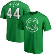 Wholesale Cheap Chicago Cubs #44 Anthony Rizzo Majestic St. Patrick's Day Stack Player Name & Number T-Shirt Kelly Green