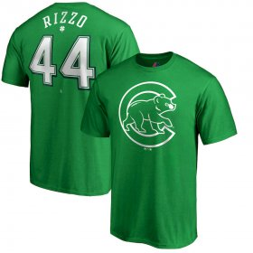 Wholesale Cheap Chicago Cubs #44 Anthony Rizzo Majestic St. Patrick\'s Day Stack Player Name & Number T-Shirt Kelly Green