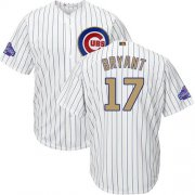 Wholesale Cheap Cubs #17 Kris Bryant White(Blue Strip) 2017 Gold Program Cool Base Stitched MLB Jersey