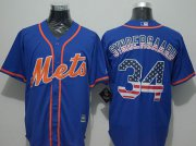 Wholesale Cheap Mets #34 Noah Syndergaard Blue USA Flag Fashion Stitched MLB Jersey
