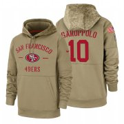 Wholesale Cheap San Francisco 49ers #10 Jimmy Garoppolo Nike Tan 2019 Salute To Service Name & Number Sideline Therma Pullover Hoodie