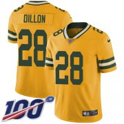 Wholesale Cheap Nike Packers #28 AJ Dillon Yellow Youth Stitched NFL Limited Rush 100th Season Jersey