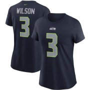 Wholesale Cheap Seattle Seahawks #3 Russell Wilson Nike Women's Team Player Name & Number T-Shirt College Navy