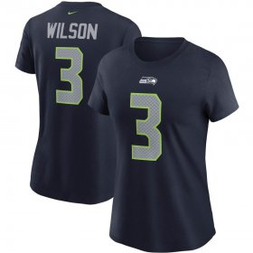 Wholesale Cheap Seattle Seahawks #3 Russell Wilson Nike Women\'s Team Player Name & Number T-Shirt College Navy