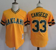 Wholesale Cheap Mitchell And Ness Athletics #33 Jose Canseco Yellow Throwback Stitched MLB Jersey