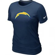 Wholesale Cheap Women's Nike Los Angeles Chargers Logo NFL T-Shirt Dark Blue