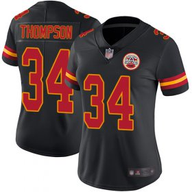 Wholesale Cheap Nike Chiefs #34 Darwin Thompson Black Women\'s Stitched NFL Limited Rush Jersey