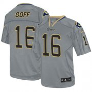 Wholesale Cheap Nike Rams #16 Jared Goff Lights Out Grey Men's Stitched NFL Elite Jersey