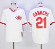 Wholesale Cheap Mitchell And Ness Reds #21 Reggie Sanders White Throwback Stitched MLB Jersey