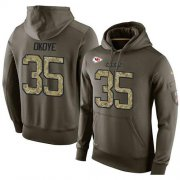 Wholesale Cheap NFL Men's Nike Kansas City Chiefs #35 Christian Okoye Stitched Green Olive Salute To Service KO Performance Hoodie