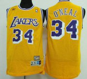 Wholesale Cheap Men's Los Angeles Lakers #34 Shaquille O'neal Yellow Hardwood Classics Soul Swingman Throwback Jersey