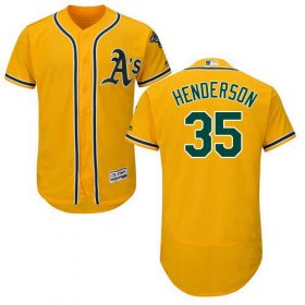 Wholesale Cheap Athletics #35 Rickey Henderson Gold Flexbase Authentic Collection Stitched MLB Jersey
