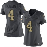 Wholesale Cheap Nike Texans #4 Deshaun Watson Black Women's Stitched NFL Limited 2016 Salute to Service Jersey
