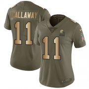 Wholesale Cheap Nike Browns #11 Antonio Callaway Olive/Gold Women's Stitched NFL Limited 2017 Salute to Service Jersey