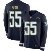 Wholesale Cheap Nike Chargers #55 Junior Seau Navy Blue Team Color Men's Stitched NFL Limited Therma Long Sleeve Jersey