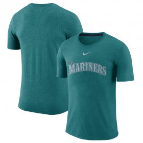 Wholesale Cheap Seattle Mariners Nike Wordmark Tri-Blend T-Shirt Teal