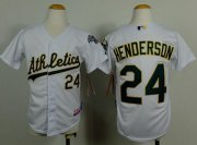 Wholesale Cheap Athletics #24 Rickey Henderson White Cool Base Stitched Youth MLB Jersey
