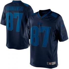 Wholesale Cheap Nike Patriots #87 Rob Gronkowski Navy Blue Men\'s Stitched NFL Drenched Limited Jersey