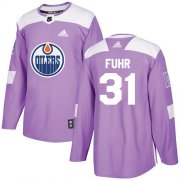 Wholesale Cheap Adidas Oilers #31 Grant Fuhr Purple Authentic Fights Cancer Stitched NHL Jersey