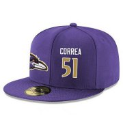 Wholesale Cheap Baltimore Ravens #51 Kamalei Correa Snapback Cap NFL Player Purple with Gold Number Stitched Hat