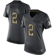 Wholesale Cheap Nike Saints #2 Jameis Winston Black Women's Stitched NFL Limited 2016 Salute to Service Jersey
