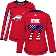 Wholesale Cheap Adidas Capitals #77 T.J. Oshie Red Home Authentic USA Flag Women's Stitched NHL Jersey