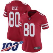 Wholesale Cheap Nike 49ers #80 Jerry Rice Red Team Color Women's Stitched NFL 100th Season Vapor Limited Jersey