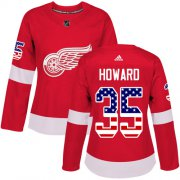 Wholesale Cheap Adidas Red Wings #35 Jimmy Howard Red Home Authentic USA Flag Women's Stitched NHL Jersey