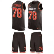 Wholesale Cheap Nike Browns #78 Jack Conklin Brown Team Color Men's Stitched NFL Limited Tank Top Suit Jersey