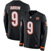 Wholesale Cheap Nike Bengals #9 Joe Burrow Black Team Color Youth Stitched NFL Limited Therma Long Sleeve Jersey