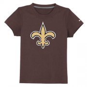 Wholesale Cheap New Orleans Saints Authentic Logo Youth T-Shirt Brown
