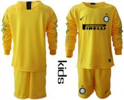 Wholesale Cheap Inter Milan Blank Yellow Goalkeeper Long Sleeves Kid Soccer Club Jersey