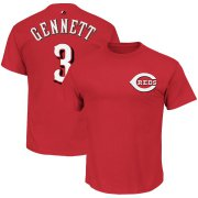Wholesale Cheap Cincinnati Reds #3 Scooter Gennett Majestic Official Name and Number T-Shirt Red