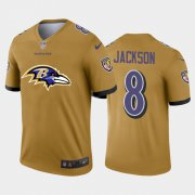 Wholesale Cheap Baltimore Ravens #8 Lamar Jackson Gold Men's Nike Big Team Logo Vapor Limited NFL Jersey