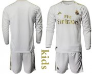 Wholesale Cheap Real Madrid Blank Home Long Sleeves Kid Soccer Club Jersey