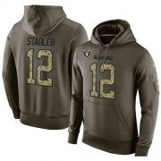 Wholesale Cheap NFL Men's Nike Oakland Raiders #12 Kenny Stabler Stitched Green Olive Salute To Service KO Performance Hoodie