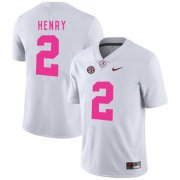 Wholesale Cheap Alabama Crimson Tide 2 Derrick Henry White 2017 Breast Cancer Awareness College Football Jersey