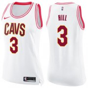 Wholesale Cheap Nike Cleveland Cavaliers #3 George Hill White Pink Women's NBA Swingman Fashion Jersey