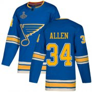 Wholesale Cheap Adidas Blues #34 Jake Allen Blue Alternate Authentic Stanley Cup Champions Stitched NHL Jersey