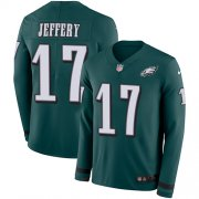 Wholesale Cheap Nike Eagles #17 Alshon Jeffery Midnight Green Team Color Men's Stitched NFL Limited Therma Long Sleeve Jersey