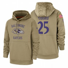 Wholesale Cheap Baltimore Ravens #25 Tavon Young Nike Tan 2019 Salute To Service Name & Number Sideline Therma Pullover Hoodie