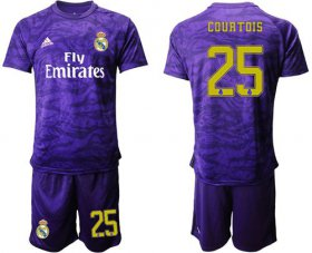Wholesale Cheap Real Madrid #25 Courtois Purple Goalkeeper Soccer Club Jersey