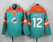 Wholesale Cheap Nike Dolphins #12 Bob Griese Aqua Green Player Pullover NFL Hoodie