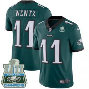 Wholesale Cheap Nike Eagles #11 Carson Wentz Midnight Green Team Color Super Bowl LII Champions Men's Stitched NFL Vapor Untouchable Limited Jersey