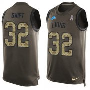 Wholesale Cheap Nike Lions #32 D'Andre Swift Green Men's Stitched NFL Limited Salute To Service Tank Top Jersey