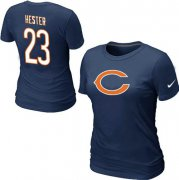 Wholesale Cheap Women's Nike Chicago Bears #23 Devin Hester Name & Number T-Shirt Blue