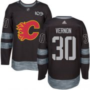 Wholesale Cheap Adidas Flames #30 Mike Vernon Black 1917-2017 100th Anniversary Stitched NHL Jersey