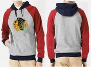 Wholesale Cheap Chicago Blackhawks Pullover Hoodie Grey & Red
